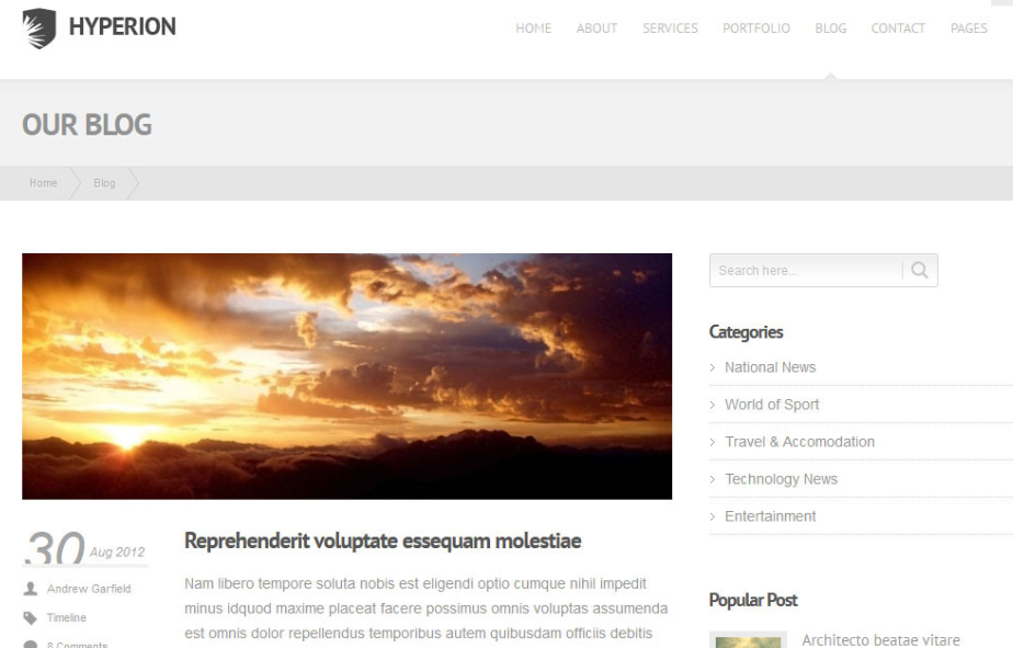 Hyperion Minimalist WordPress Theme