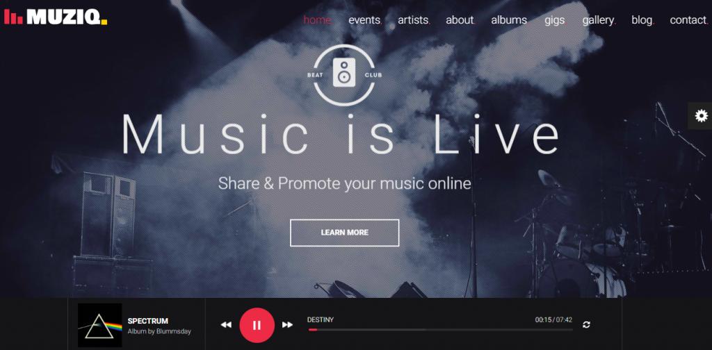 Muziq WordPress Theme for Musicians