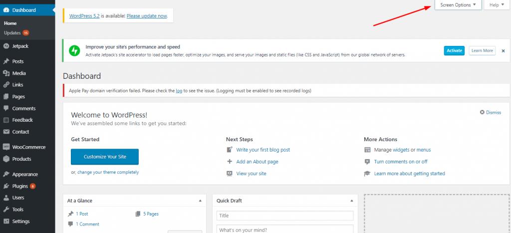 WP Dashboard Screen Options