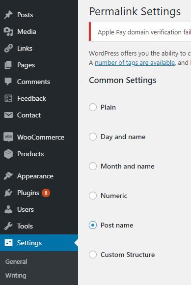 WP Permalink settings