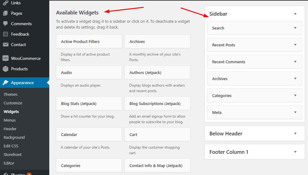 WP Sidebar widgets