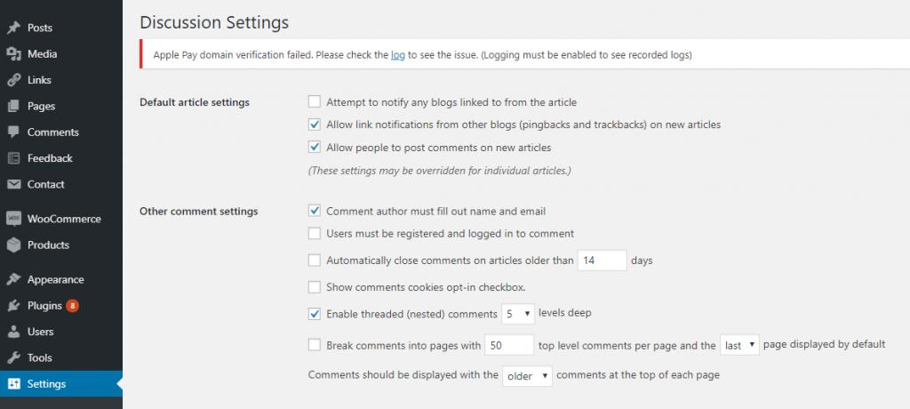 WordPress Discussion settings