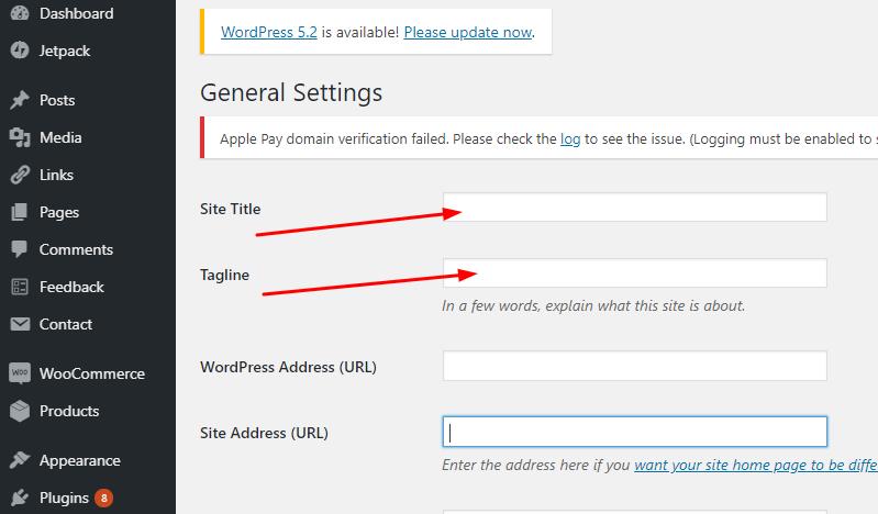 WordPress Site Title Tagline