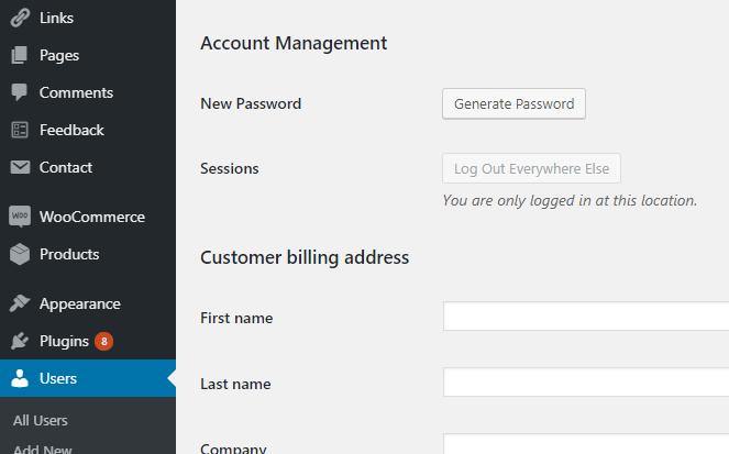 WordPress Users Account Management