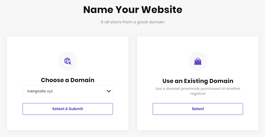 Choose domain setup