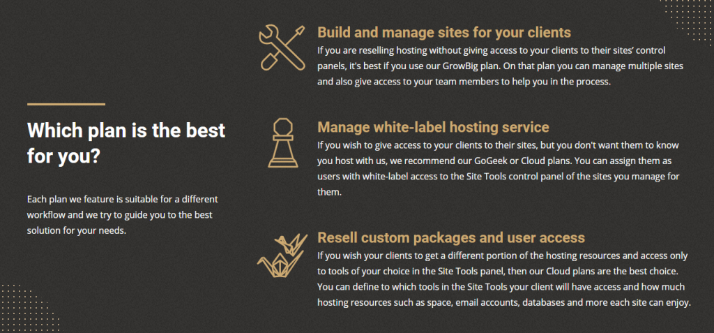 SiteGround reseller features